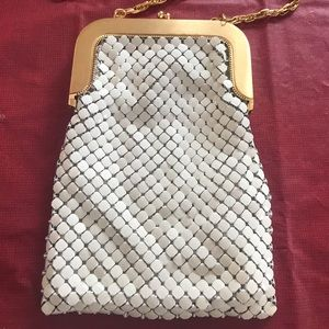 Whiting & Davis mesh white bag Gold evening bag